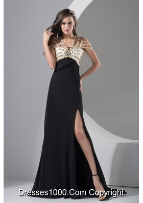 Beading and High Slit Decorated Brush Train Prom Dress with Cool Neckline
