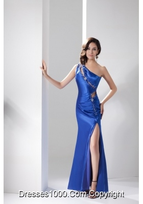 Beading Cool Back One Shoulder Prom Dress in Blue with Cutouts
