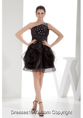 Black One Shoulder Beaded Ruffles Short Prom Dress