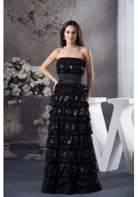 Black Ruffled Layers Strapless Floor-length Prom Dress with Ruched Sash