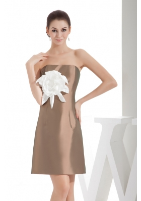 Brown Strapless Short Prom Dresses with Big Handmade Flower