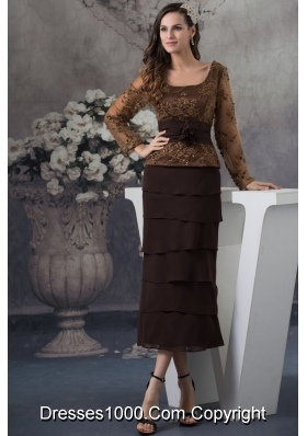 Chocalate Beaded Long Sleeve Embroidery Column Prom Dress