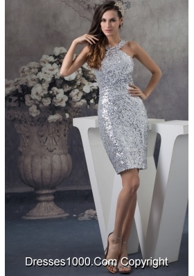 Customer Made Pretty Sheath Sequin Silver Prom Dress Mini-length