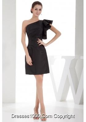 Elegant Black One Shoulder Ruching 2013 Short Prom Dress
