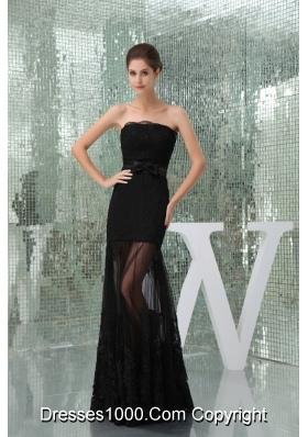 Floor-length Strapless Black Lace Prom Dress for Girls with Bowknot