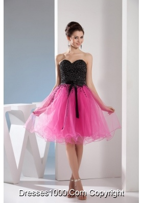 Fuchsia and Black Sweetheart Sashes Beading Prom Cocktail Dress