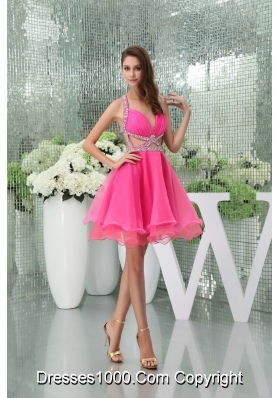 Hot Pink Mini-length Halter Top Beaded Prom Dress with Cutouts