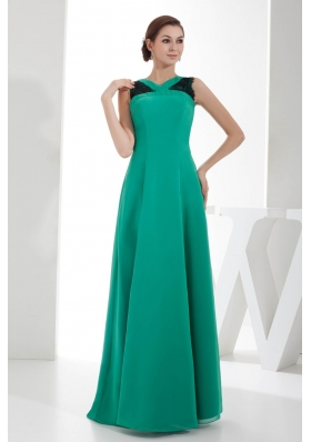Lace V-neck Floor-length Decoration Turquoise Outfit For Prom