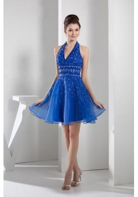 Mini-length Blue Prom Gown with beading and Organza Layers