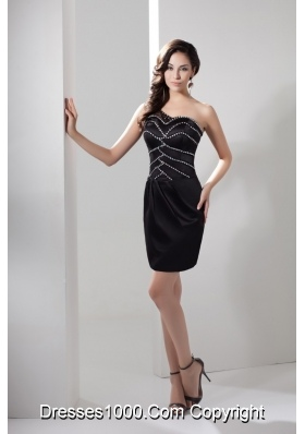 Mini-length Diamonds Decorated Single Shoulder Sheath Prom Gowns