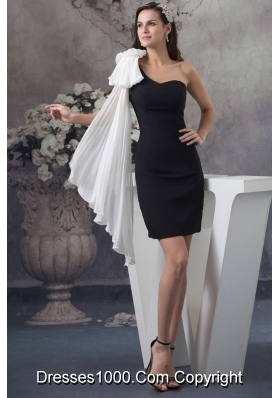 Popular Sheath One Shoulder Black Mini-length Prom Dress for Girls