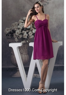 Popular Spaghetti Straps Ruched Dark Purple Short Prom Dress