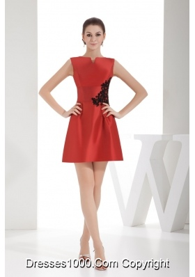 Red Slot Neck Mini Length Dress For Prom with Black Appliques