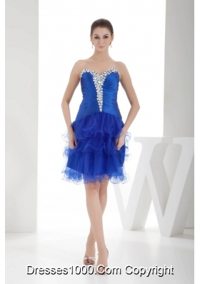 Royal Blue Sweetheart Beading Prom Dress with Ruffled Layers