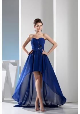Royal Blue Sweetheart Chiffon Prom Dress with Ruching and Beading
