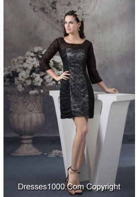 Scoop Neck 3/4-length Sleeve Black Lace Mini Prom Dress