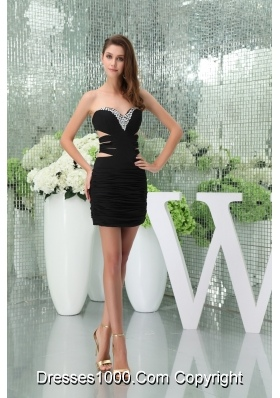 Sexy Mini-length Sweetheart Beaded Black Prom Dress with Cutouts