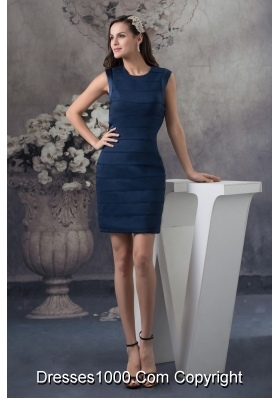 Sheath Navy Blue Mini-length U-neck Prom Dress for Women