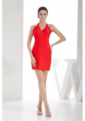 Sheath Red Satin V-neck Mini-length Prom Dress for Cheap 2013