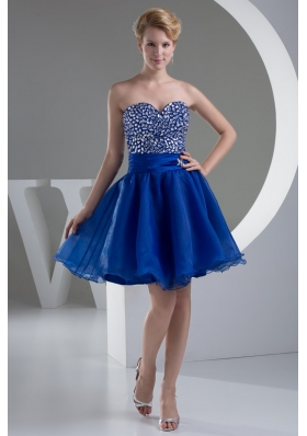 Sweetheart A-line Mini-length Royal Blue Prom Dress with Beaded Bodice