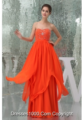 Sweetheart Beaded Floor-length Chiffon Coral Red Prom Dress