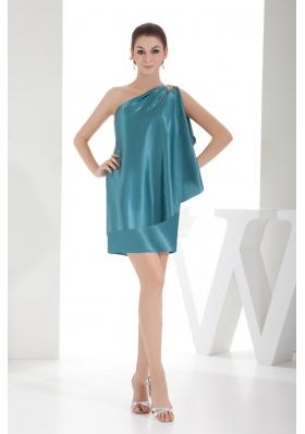 Unique Taffeta Teal One Shoulder Beaded Mini-length Prom Dress
