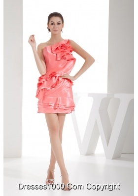 Watermelon Red One Shoulder Ruffles Mini-length Prom Dress