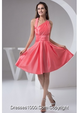 Asymmetrical Ruched Taffeta Prom Holiday Dress in Watermelon