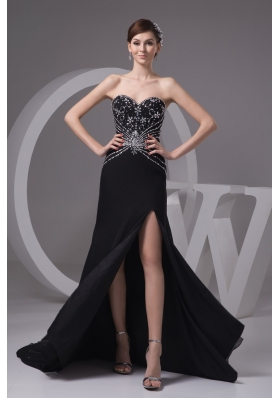 Beading and High Slit Decorated Sheath Black Brush Train Prom Gown