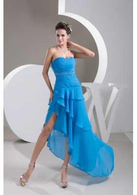 Ruche Beading and Sash Back Covered Prom Dresses with Asymmetrical Edge