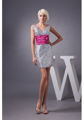 Silver V-neck Prom Graduation Dress with Ruche Hot Pink Belt