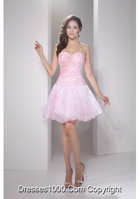 Sweetheart Princess Handle Flowers Mini-length Prom Dress in Baby Pink