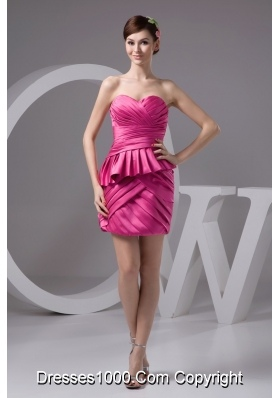 Sweetheart Strapless Mini Ruched Prom Gown Dress in Hot Pink