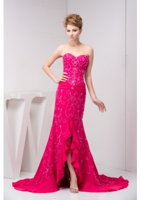 Beaded and Flounced Chiffon Prom Evening Dress in Hot Pink