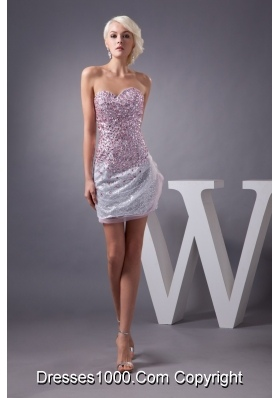 Sweetheart Strapless Mini Prom Dresses with Sequins and Rhinestone
