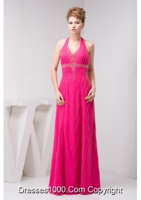 Column Hot Pink Halter Top Beaded Prom Dress with the Back Out