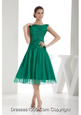 Green A-line Bateau Beading and Ruching Prom Gowns with Chiffon