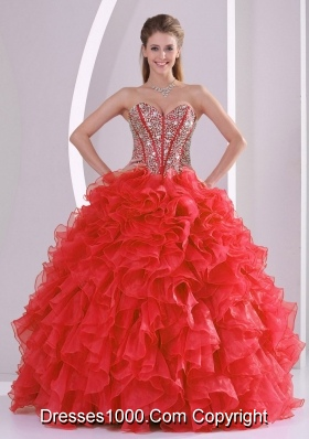 2014 Puffy Sweetheart Long Lace Up Quinceanera Gowns with Beading Ruffles