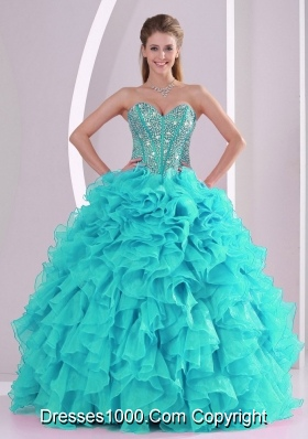 57ebc990fae 2014 Spring Puffy Sweetheart Beading Quinceanera Dress with Full Length