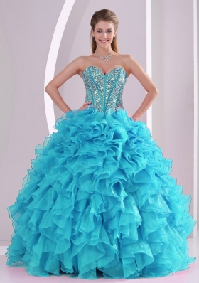 Baby Blue Sweetheart Ruffles and Beaded Decorate Sleeveless Quinceanera Gowns