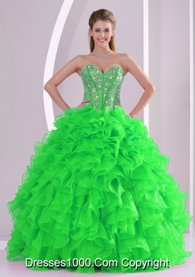 Ball Gown Sweetheart Ruffles and Beading Organza Quinceanera Gowns in Sweet 16