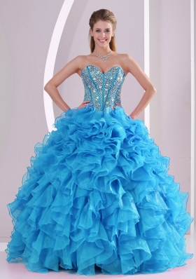 Blue Sweetheart Organza 2014 Quinceanera Gowns with Fitted Waist