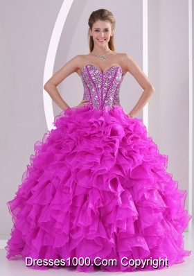 Unique Ruffles and Beading Sweetheart Floor-length Quinceanera Gowns for 2014 summer