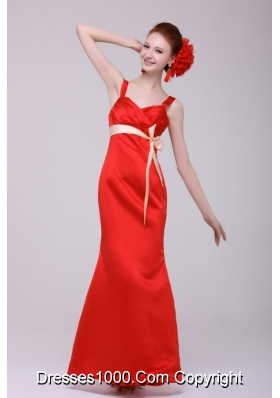 Cheap Column Straps Floor-length Taffeta Prom Gowns in Red