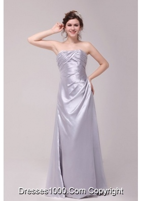 Discount Column Strapless Taffeta Prom Gown Dresses in Grey