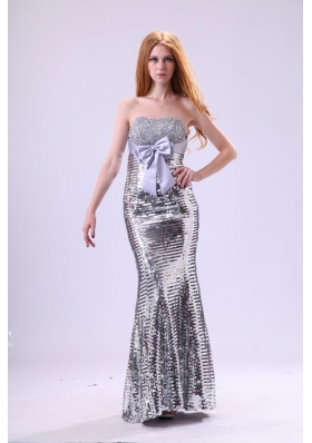 2014 Column Sweetheart Grey Beaded Prom Gown with Sequins