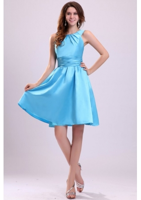 A-line Straps Short Aqua Blue 2014 Prom Party Dress with Ruches