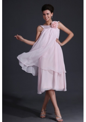 Baby Pink Bateau Tea-length Dresses For Prom Princess for 2014