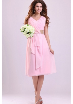 Baby Pink Empire V-neck Chiffon Prom Gown Dress with Ruches
