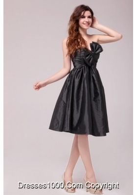 Black Sweetheart Ruched Taffeta Knee-length Prom Pageant Dress